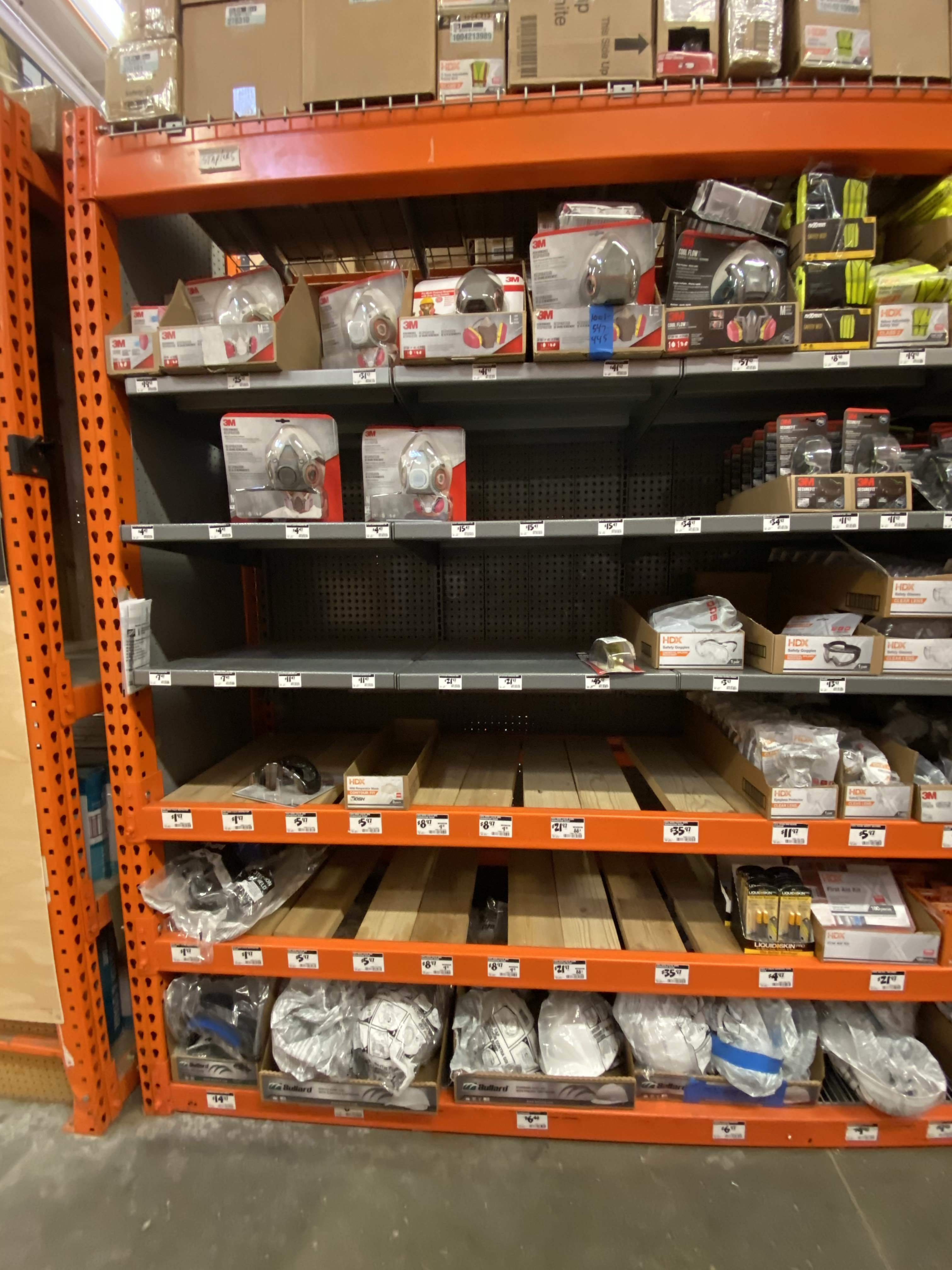 masks sold out at local Home Depot and drug store