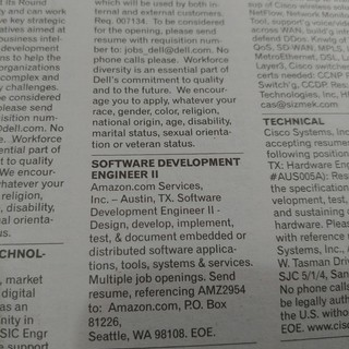 Amazon Newspaper Job Posting