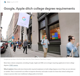 Google, Apple ditching college degree requirements