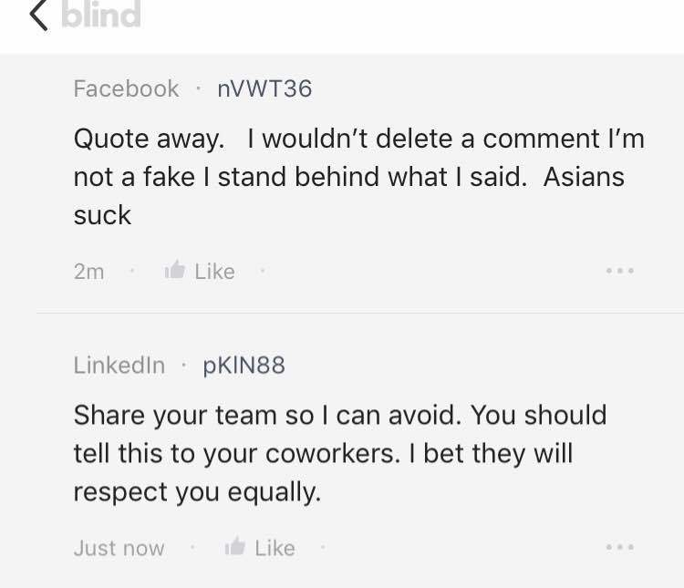 HR Issues: Is racist common in Facebook? - Blind