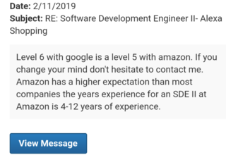 Amazon only gives SDE2 for Google L6???