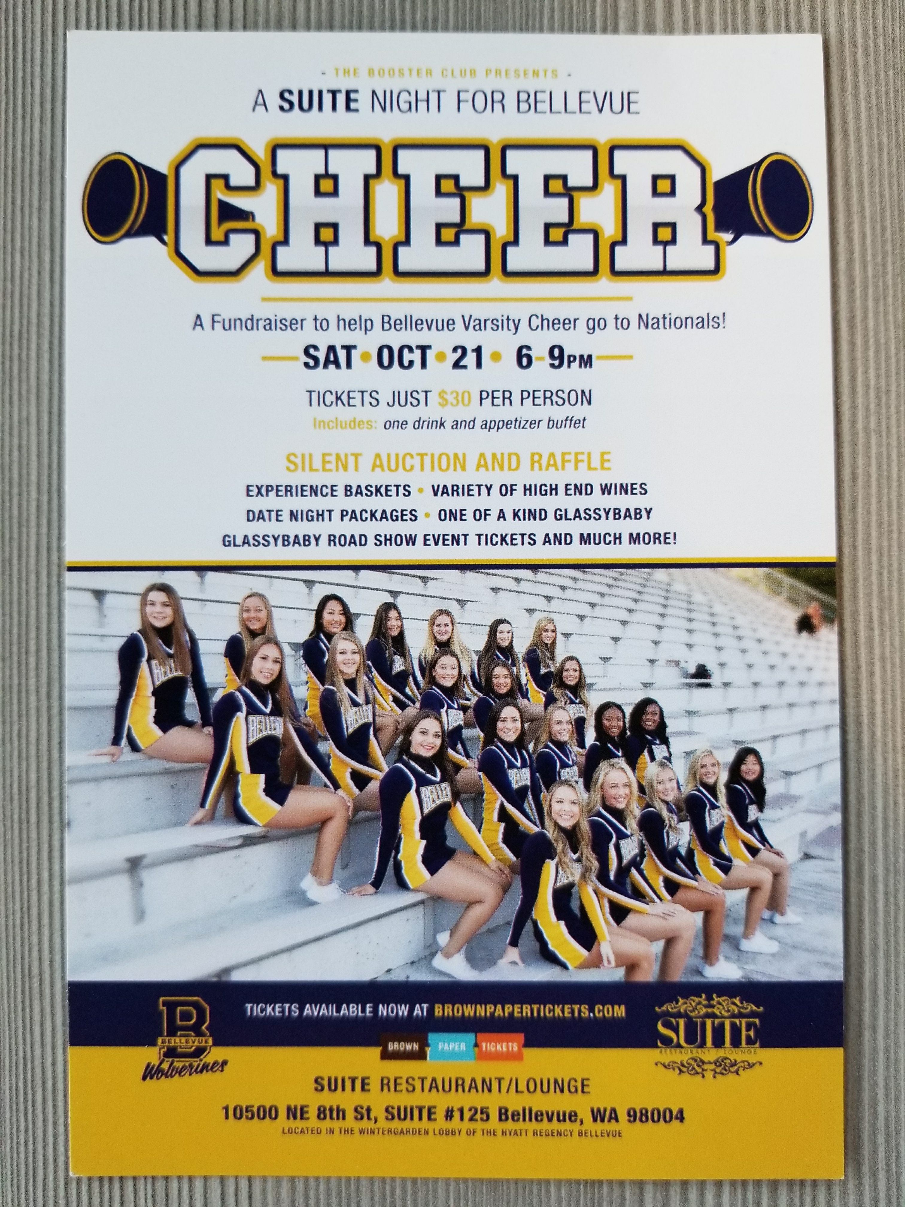 Bellevue high school cheerleader slient auction fundraiser at Suite Lounge