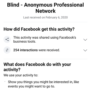 "How is ""anonymous"" Blind app able to correctly report my activity to Facebook about me?"