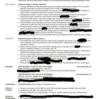 Resume Review For Data Pm Data Analyst And Data