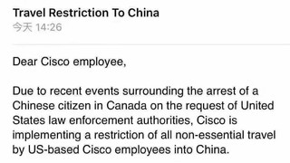 Travel Restriction to China for Cisco Employees