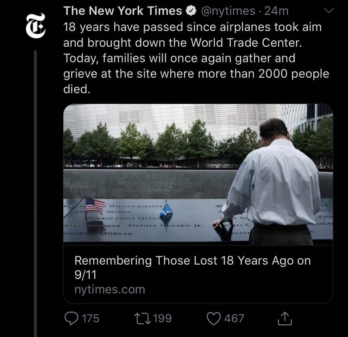 """Airplanes took aim"" wtf NYT"