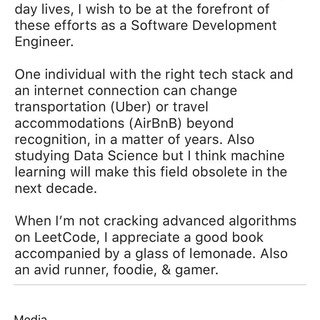 Thoughts on my LinkedIn summary for SDE?
