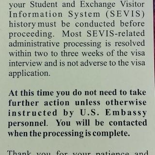 H1B Visa interview yellow slip?