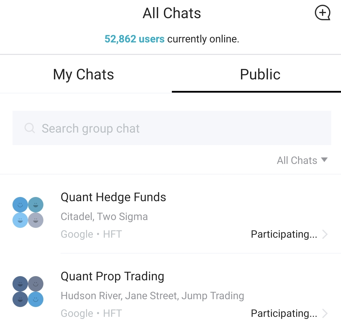 Invitation to quant HF group chat