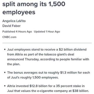 Juul employees getting 1.3 million$ as bonus!!!