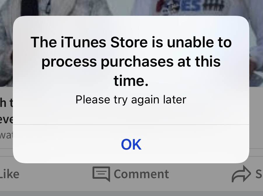 "Opening LinkedIn app: ""The iTunes Store is unable to process purchases at this time."""